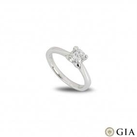 Platinum Cushion Cut Diamond Ring 1.01ct E/VS2